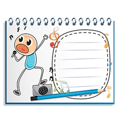 A notebook with a drawing of a boy singing vector image