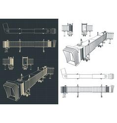 Airport telescopic gangway drawings vector