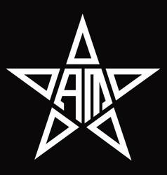 Am logo monogram with star shape design template vector