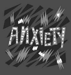 Anxiety hand drawn lettering psyhology vector