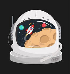 Astronaut helmet in a space vector