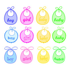 Baby bibs for girl and for boy vector