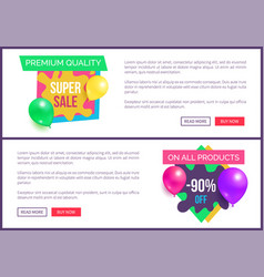banners set premium quality super prices stickers vector image
