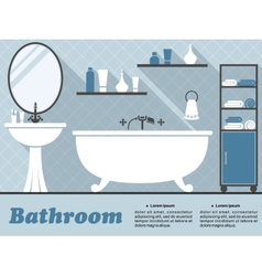 Blue bathroom interior infographic vector