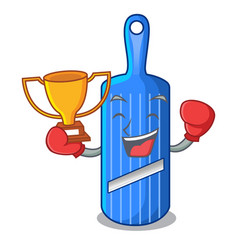 Boxing winner person cutting fruit on mandoline vector