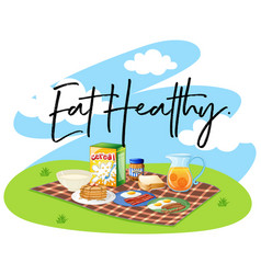 breakfast set and word eat healthy vector image