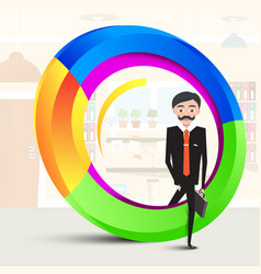 Business man inside abstract colorful shape man vector