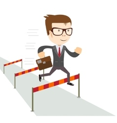 Businessman jumping over hurdles vector
