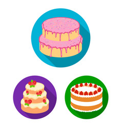 Cake and dessert flat icons in set collection for vector