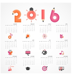 Calendar for 2016 on grey background vector