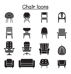 chair and sofa front view icon set graphic vector image
