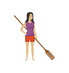 Chinese girl standing and holding wooden oar vector