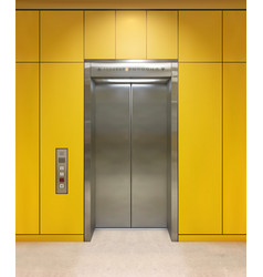 chrome metal office building elevator doors open vector image