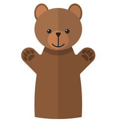 Clubfoot bear hand puppet doll for theatre vector