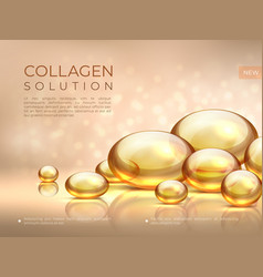 Collagen background golden oil bubble cosmetic vector