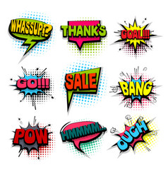 Comic set colored comics book phrase balloon vector