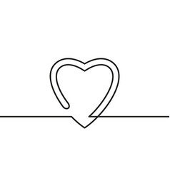 Continuous line drawing heart black and white vector