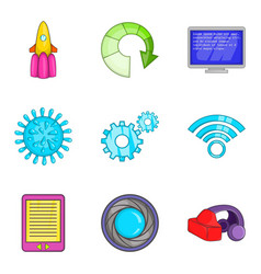Cordless telephone icons set cartoon style vector