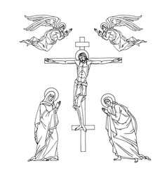 Crucifixion jesus christ holy mary apostle john vector