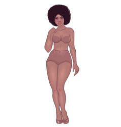 curvy african american girl in underwear isolated vector image