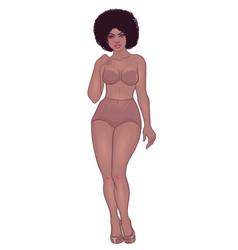 Curvy african american girl in underwear isolated vector