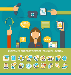 customer support service icons collection vector image