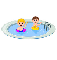 Cute little kids swimming with inflatable circle c vector
