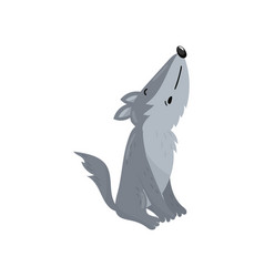 Cute wolf woodland howling cartoon animal vector