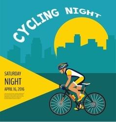 Cycling night poster cyclist riding through vector