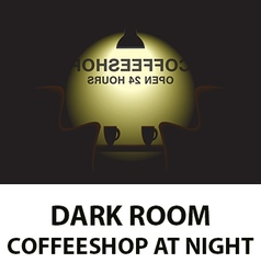 Dark room - coffee shop at night vector