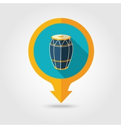 Drum pin map flat icon Summer Vacation vector