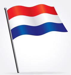 dutch holland netherlands flag on flagpole vector image