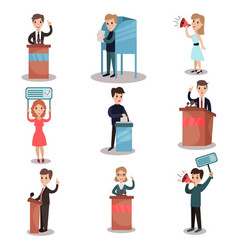 Elections and voting set political candidates and vector