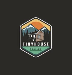 Emblem patch outdoor tiny house trailer logo vector