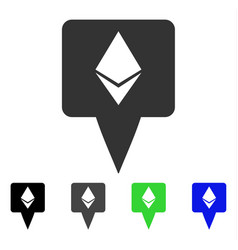 Ethereum map pointer flat icon vector