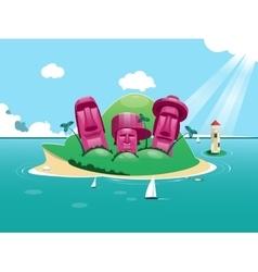 Exotic island in ocean vector