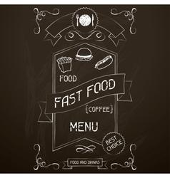 fast food on restaurant menu chalkboard vector image
