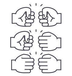 fist bump line icon sign on vector image