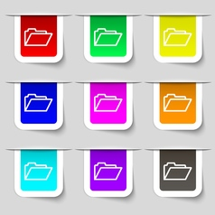 Folder icon sign Set of multicolored modern labels vector image