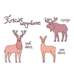 Forest ungulate animals set vector image