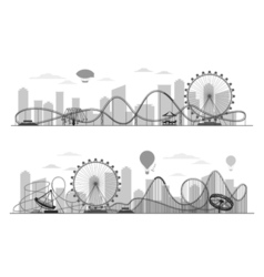 Fun fair amusement park landscape silhouette with vector