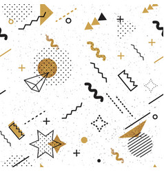 gold black and white seamless triangle pattern vector image