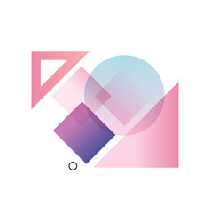 Gradient geometric forms in blue pink and purple vector