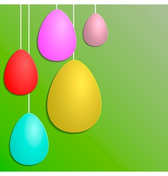 Green paper card with striped easter eggs vector