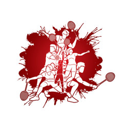 Group badminton players action cartoon graphic vector