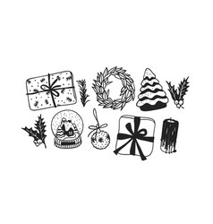 hand drawn christmas toys and things on white vector image