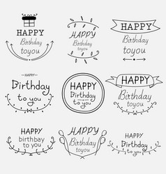 hand drawn happy birthday typographic set vector image
