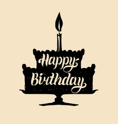 happy birthday cake with one candle hand vector image