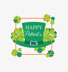 happy st patricks day leprechaun hat and leaves vector image