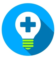 Healh Care Bulb Flat Round Icon with Long Shadow vector